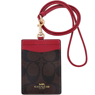 COACH 紅色大C PVC識別證件夾