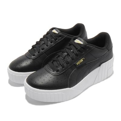 Puma 休閒鞋 Cali Wedge 女鞋 厚底 增高 皮革 穿搭推薦 黑 白 37343802
