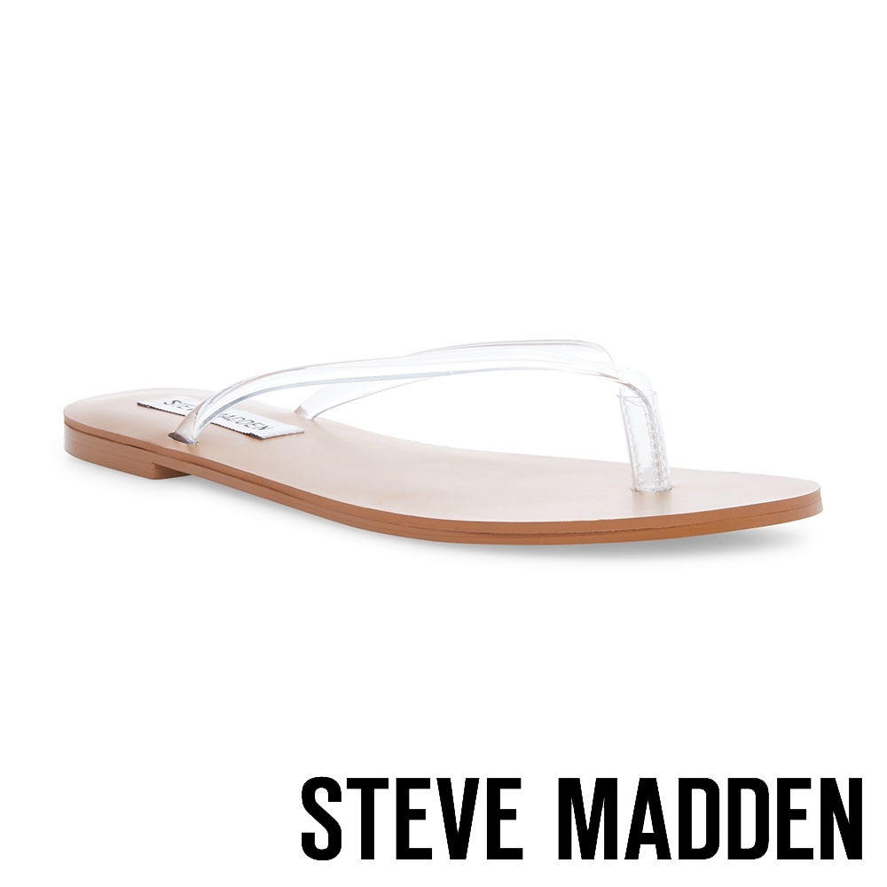 STEVE MADDEN-SIMPLICITY 閃耀夾腳平底拖鞋-透明棕