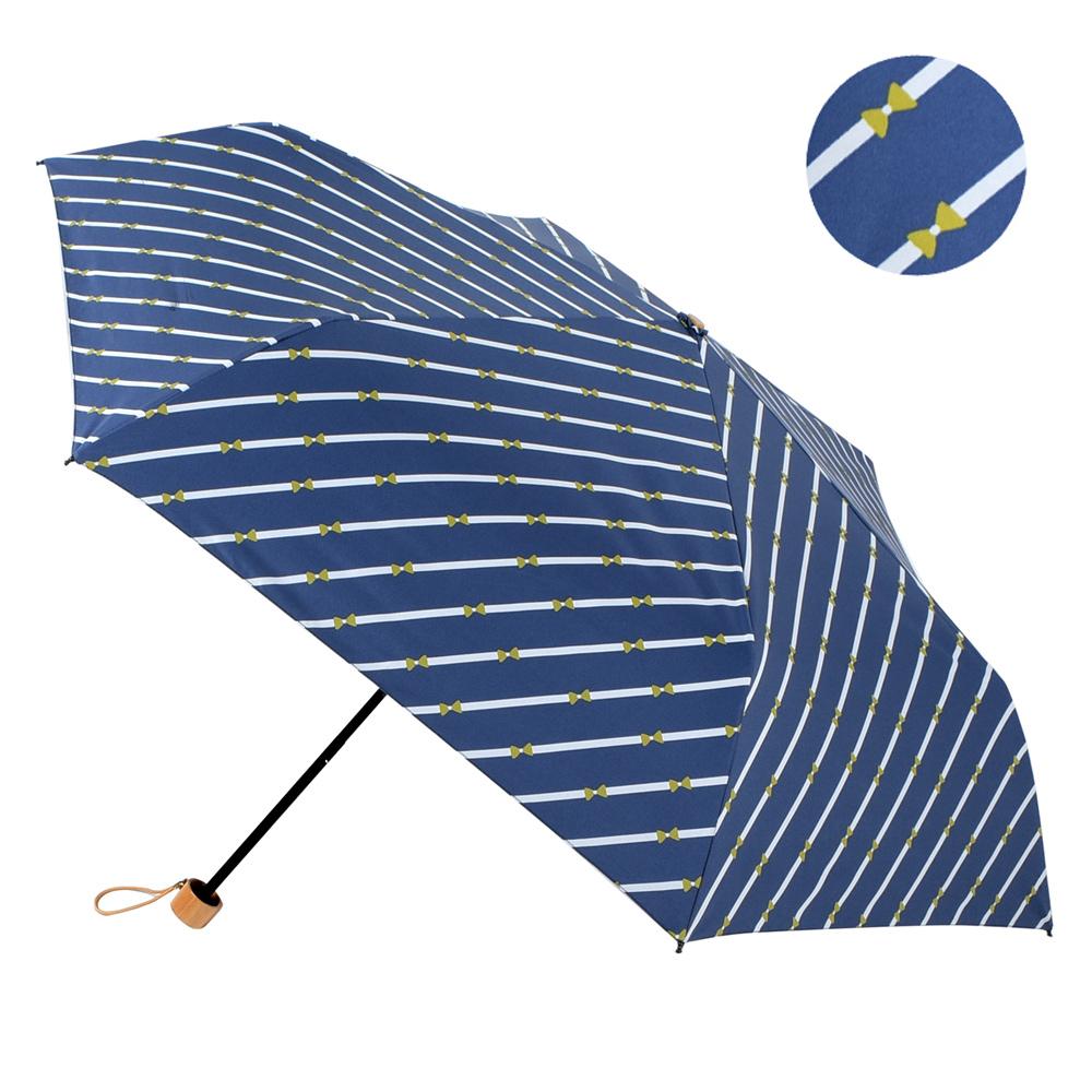 2mm 100%遮光 斜紋蝴蝶結黑膠輕量手開傘 (深藍)