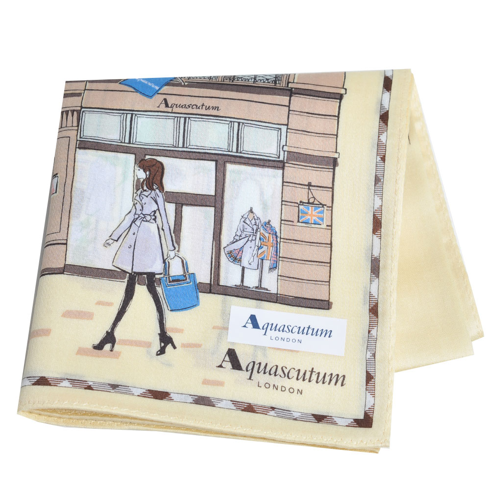Aquascutum 倫敦風格時尚仕女品牌圖騰字母LOGO帕領巾(淡黃系)