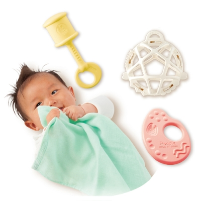 日本People 彩色米的玩具精選4件組(0m+)(米製品玩具系列/新生禮/滿月禮/咬舔玩具/安撫玩具)