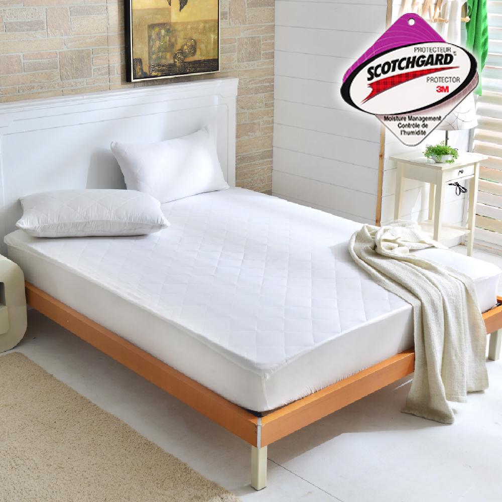 Goelia 台灣製採用3M吸濕排汗設計包覆式保潔墊一入-白雙人
