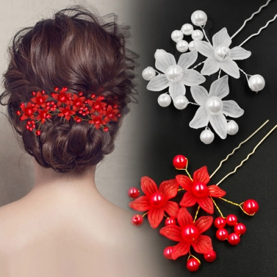 HERA 赫拉 珍珠假花新娘婚紗髮簪/頭飾-2色