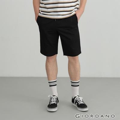 GIORDANO 男裝素色抽繩卡其短褲 - 09 標誌黑