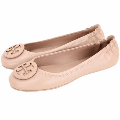 TORY BURCH Minnie Travel 琺瑯盾牌飾平底鞋(裸砂色)