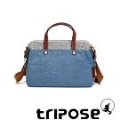 tripose 漫遊系列岩紋雙拉鍊手提斜背包 天空藍