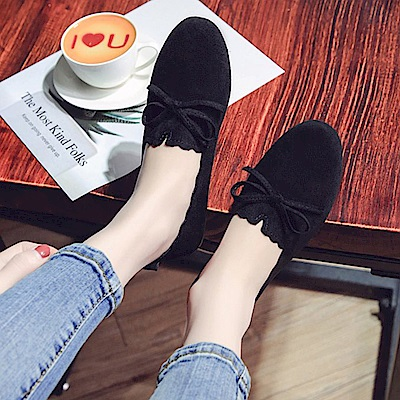 韓國KW美鞋館 獨賣款氣質性感平底鞋-黑色