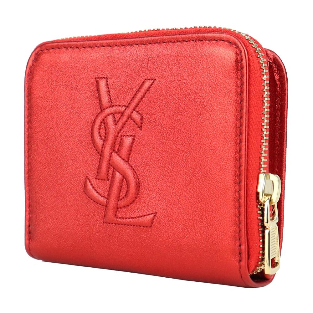 YSL Saint Laurent Belle de Jour系列經典 LOGO 皮革壓紋皮扣短夾(金屬紅)