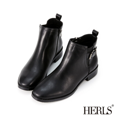 HERLS短靴-釦環鬆緊拉鍊圓頭皮革粗跟短靴-黑色