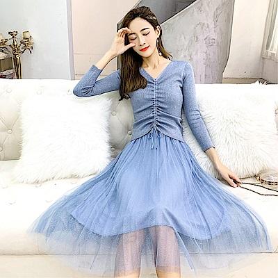 DABI 韓國風名媛V領修飾輪廓網紗裙套裝長袖洋裝