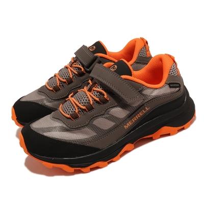 Merrell 戶外鞋 Moab Speed Waterproof 童鞋 魔鬼氈 緩震 能量反饋 耐磨抓地 灰 橘 MK265210