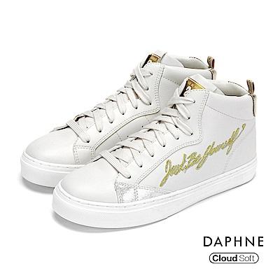 達芙妮DAPHNE 休閒鞋-拼接綁帶字母塗鴉高筒休閒鞋-白