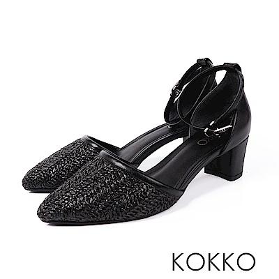KOKKO - 法式時尚編織踝帶粗跟鞋 - 黑巧克力