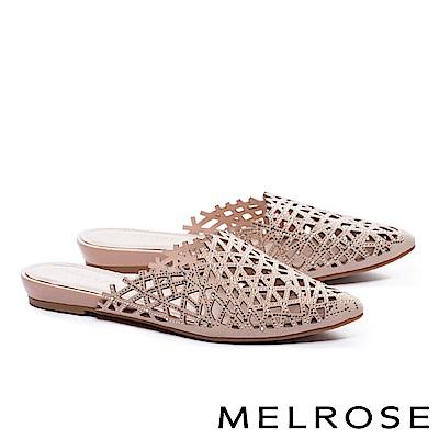 拖鞋 MELROSE 奢華自信晶鑽沖孔尖頭低跟拖鞋-粉