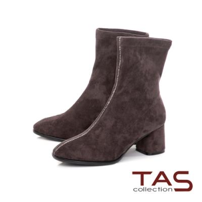TAS質感彈力絨布拼接水鑽粗跟襪靴-咖啡灰