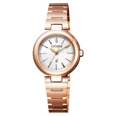 CITIZEN xC 璀璨年代光動能時尚腕錶-玫瑰金-26mm