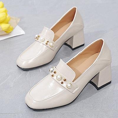 KEITH-WILL時尚鞋館 韓國氣質輕盈舒適粗跟鞋-米白色