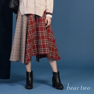 bear two- 多片拼接不規則長裙 - 紅