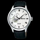 SEIKO 精工Presage羅馬開芯機械壓紋腕錶-銀(SSA379J1)