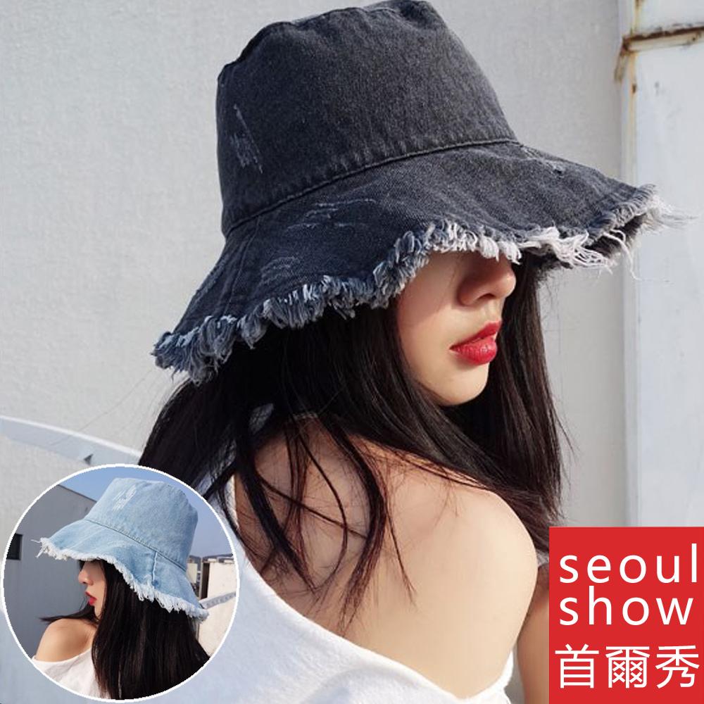seoul show首爾秀 刷破短鬚牛仔布漁夫帽四季防曬遮陽帽