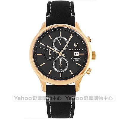 MASERATI 瑪莎拉蒂Gentleman三眼計時手錶-黑X玫瑰金框/42mm