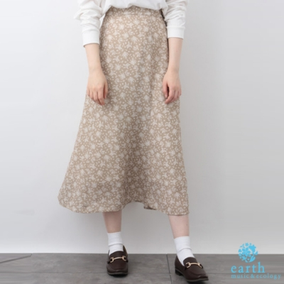earth music 廣瀨鈴企劃款-花卉打印ALINE長裙