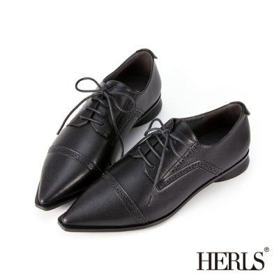 HERLS牛津鞋-全真皮橫飾沖孔尖頭紳士鞋牛津鞋-黑色