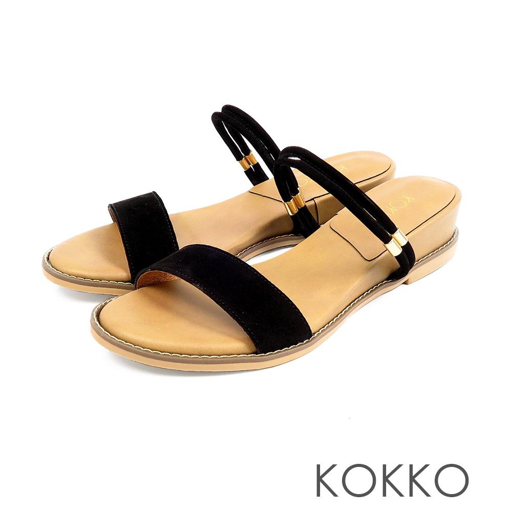 KOKKO目光迷離二穿微增高牛皮平底涼鞋風情黑