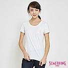 SOMETHING U領基本口袋短袖T恤-女-白色