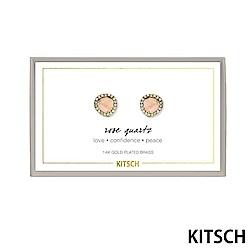 KITSCH 美國加州時尚品牌 淡粉玫瑰石英14k鍍金寶石耳環