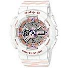 BABY-G潮流時尚交錯線條配色設計運動錶(BA-110CH-7A)白色X粉紅43.4mm