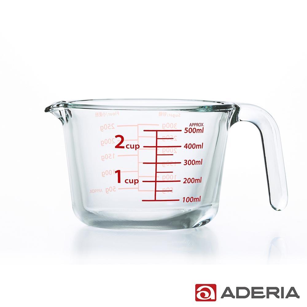 ADERIA 日本進口玻璃烘焙烹飪帶刻度量杯-500ml