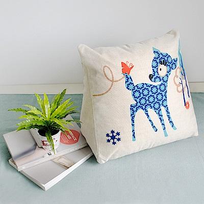 【收納職人】Zakka日系雜貨風棉麻織紋舒壓三角抱枕/靠枕/腿枕(藍色小鹿)