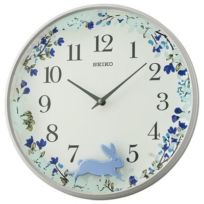 SEIKO 日本精工 動如脫兔 掛鐘 時鐘(QXC238N)-藍/33cm
