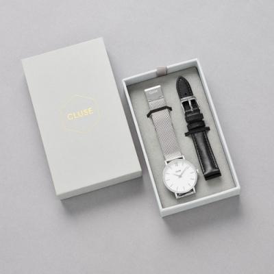 CLUSE  Minuit 限量腕錶禮盒(銀色框/銀色不鏽鋼錶帶+黑色皮革錶帶) 33mm