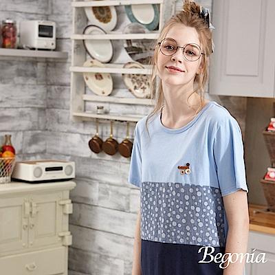 Begonia 縫釦配色點點拼接上衣(共二色)
