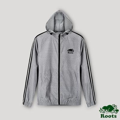 Roots男裝- 椒鹽灰系列 收納式防風外套-灰色