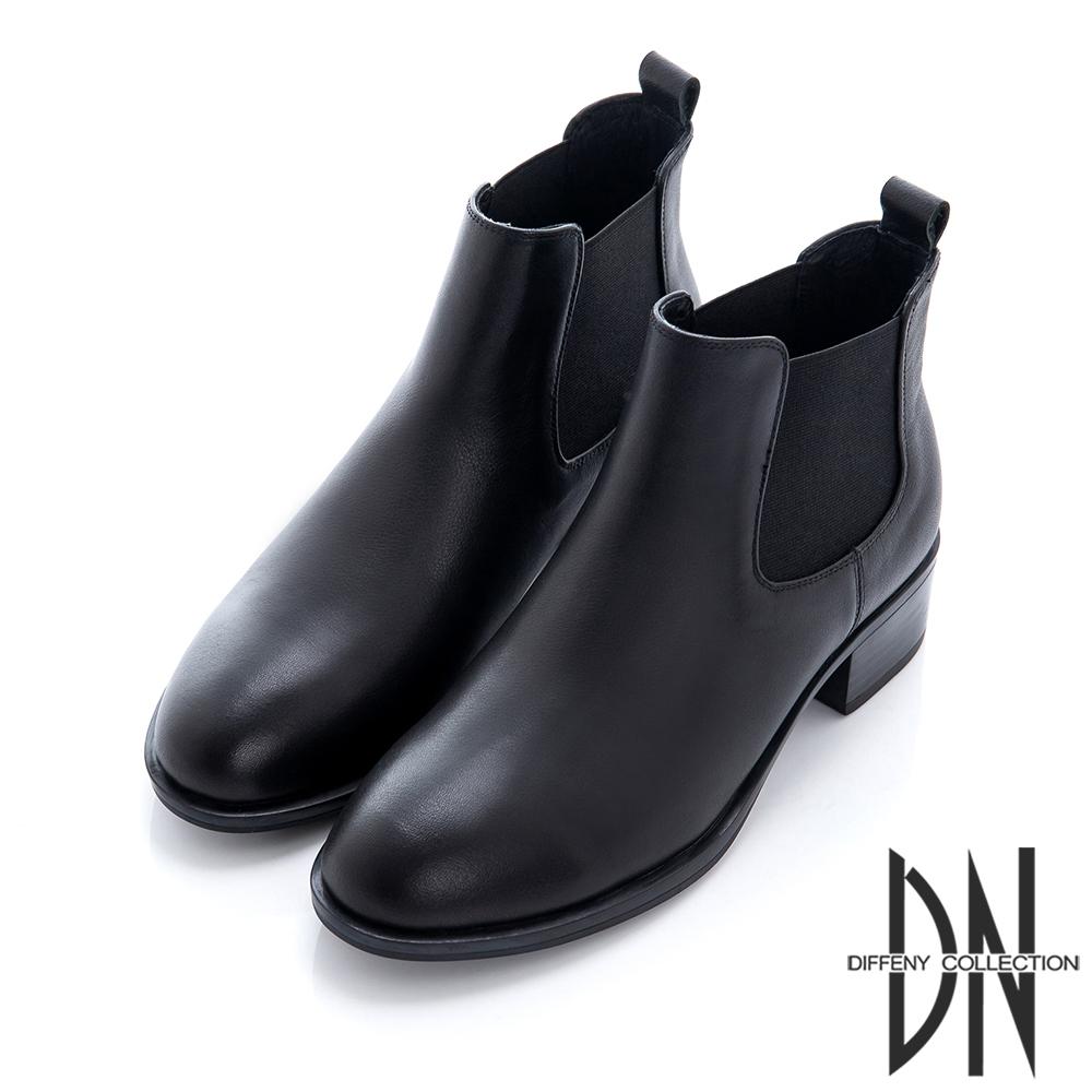 DN 英式經典 時尚純色側邊彈性短靴-黑