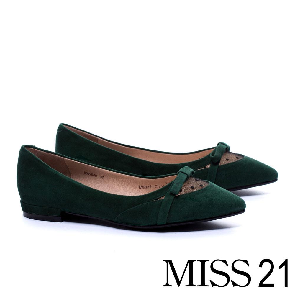 低跟鞋 MISS 21 復古優雅異材質網紗拼接羊麂皮低跟鞋 -綠 @ Y!購物