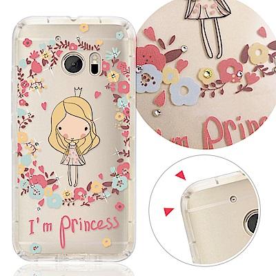 VAT HTC 10 / M10h 奧地利水晶彩繪氣墊手機鑽殼-花樣女孩