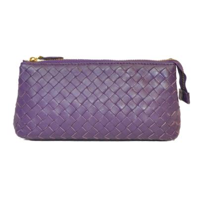 Miyo進口羊皮手工編織手拿包(紫)