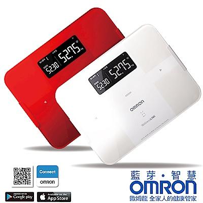 [時時樂限定]OMRON歐姆龍藍芽智慧體重體脂計HBF-254C-白色/紅色 2色選1