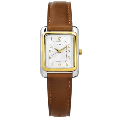 TIMEX 天美時 美國品牌 復刻 日常生活防水 真皮手錶-銀白x金框x深褐/25mm