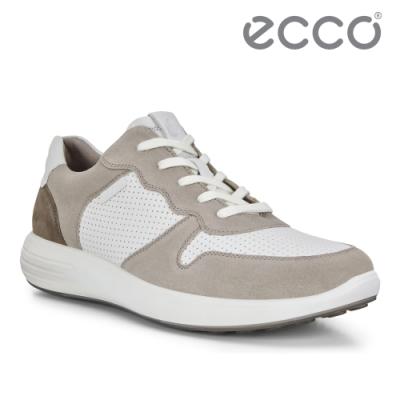 ECCO SOFT 7 RUNNER M 拼接撞色透氣休閒鞋 男-灰/白