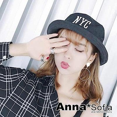 AnnaSofia 立體NYC字母 防曬遮陽帽漁夫帽(黑系)