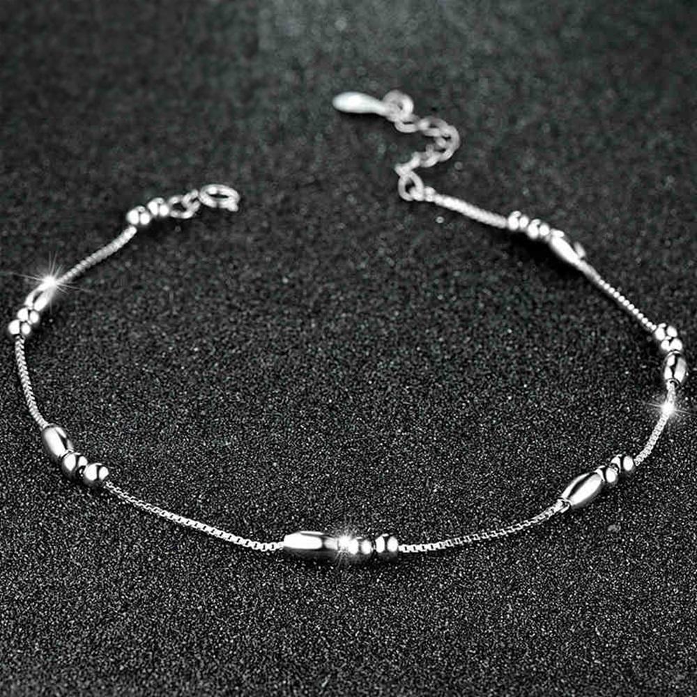 米蘭精品 925純銀腳鍊-簡約抛光圓珠盒子鍊