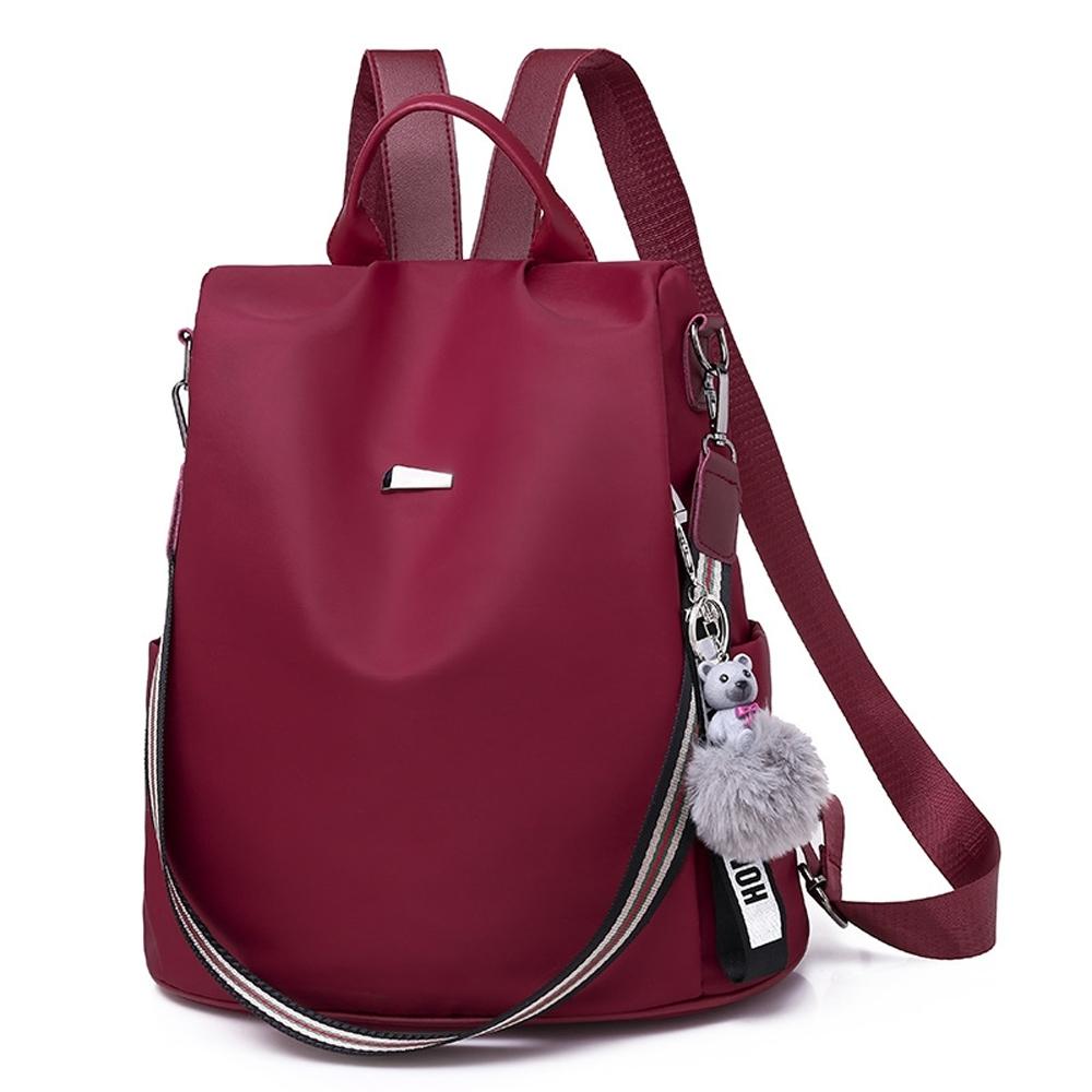 I.Dear-韓版時尚素面條紋背帶雙肩拉鍊防盜肩背後背包BG125(紅色)