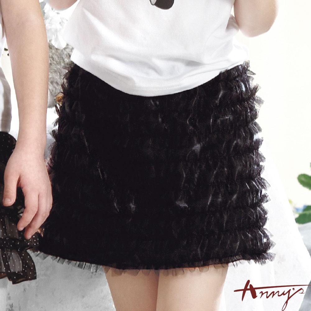 氣質鬆緊緞布網紗短裙*0116黑
