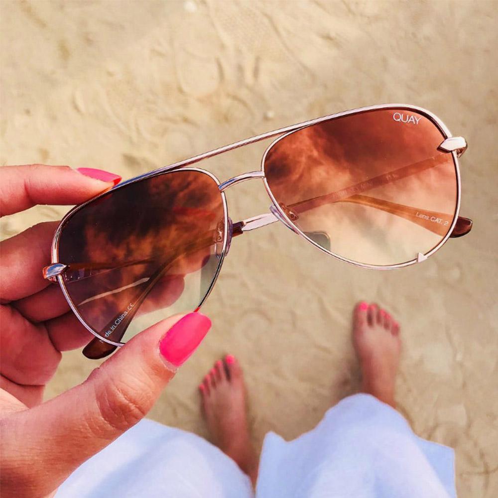 Quay Australia HIGH KEY 週年款飛行員太陽眼鏡 (迷你/鏡光漸層粉)